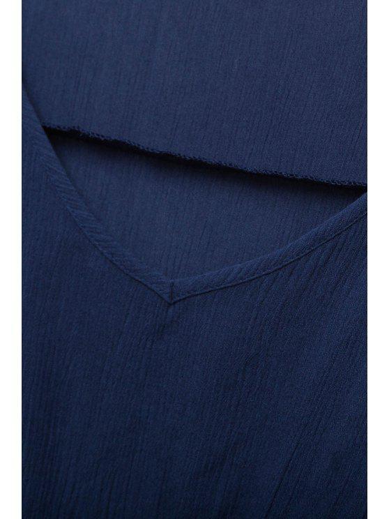 shop Side Slit Pockets Ruffle Half Sleeve Dress - PURPLISH BLUE S