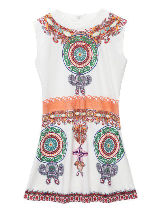 outfits Retro Print Sleeveless Mini Dress - WHITE S