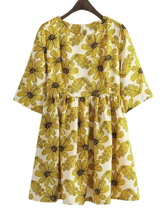 womens Yellow Floral Print Half Sleeve Dress - YELLOW M