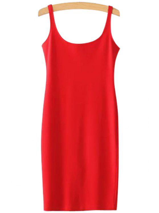 lady Solid Color Scoop Neck Sundress - RED S