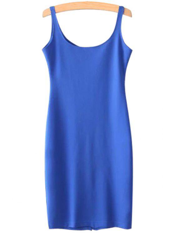 shops Solid Color Scoop Neck Sundress - BLUE L