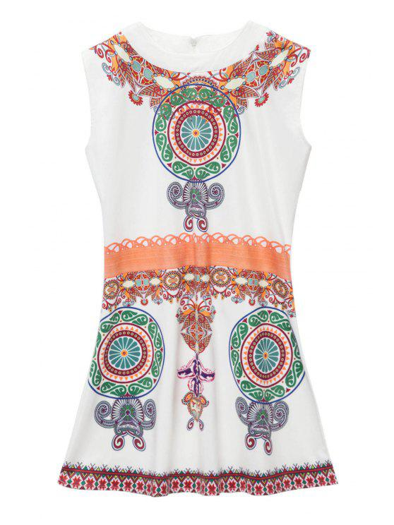 latest Retro Print Sleeveless Mini Dress - WHITE XL