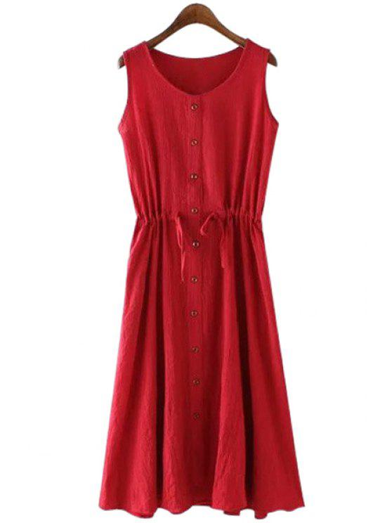 shops Solid Color Single-Breasted Sundress - WINE RED M