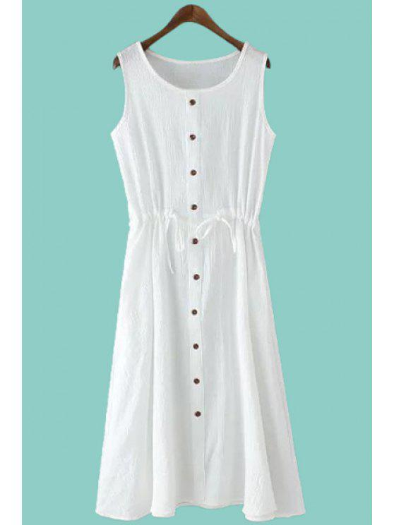 buy Solid Color Single-Breasted Sundress - WHITE M