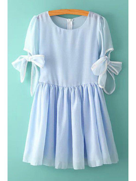 outfit Bowknot Multi-Layered Short Sleeve Dress - BLUE L