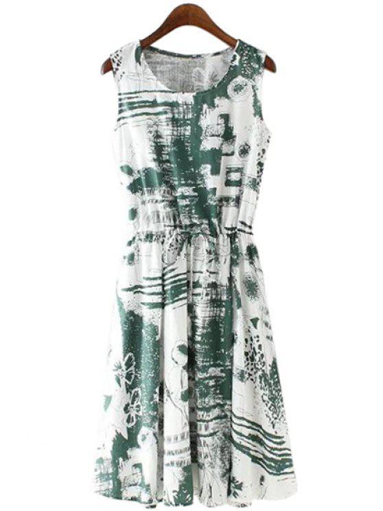 latest Print Linen Scoop Neck Sundress - GREEN S