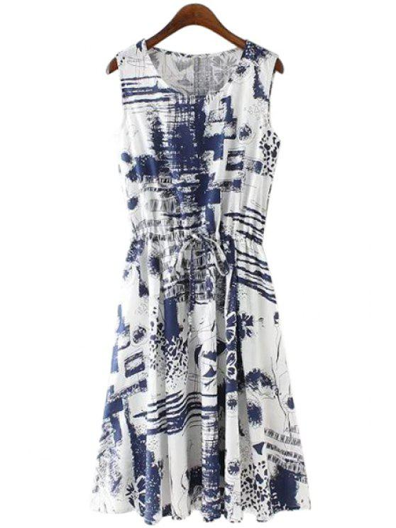 affordable Print Linen Scoop Neck Sundress - BLUE S