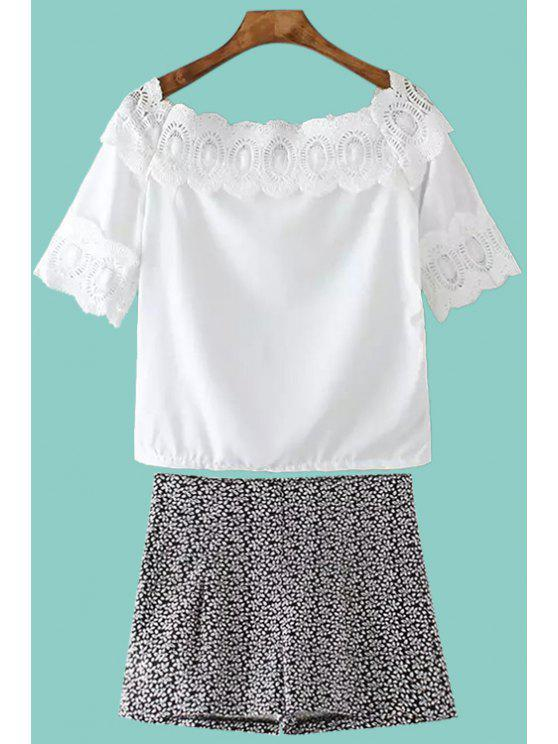 women's White Short Sleeve T-Shirt and Leaf Print Shorts Suit - BLACK ONE SIZE(FIT SIZE XS TO M)