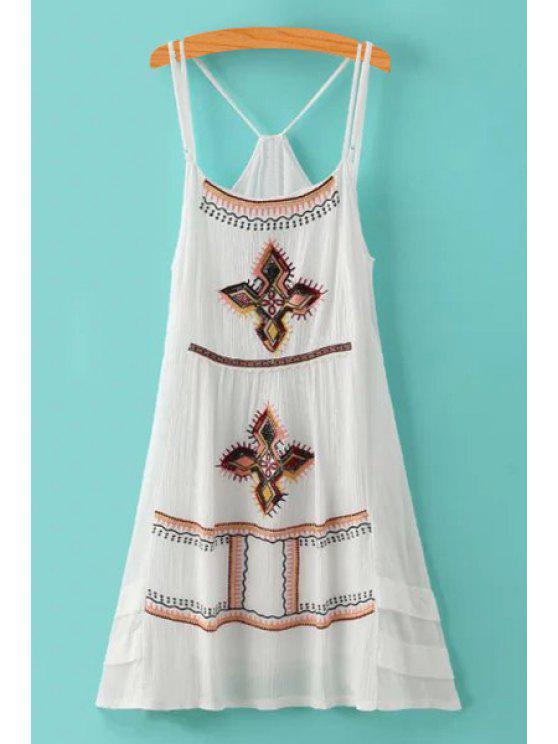 latest Spaghetti Strap Argyle Embroidery Sleeveless Dress - WHITE M