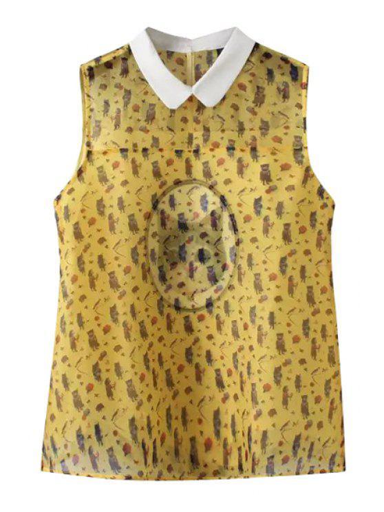 fancy Turn-Down Collar Cat Print Sleeveless Tank Top - YELLOW S