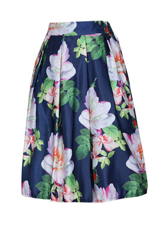 affordable Floral Print Zipper-Fly Ruffled Flare Skirt - BLUE ONE SIZE(FIT SIZE XS TO M)