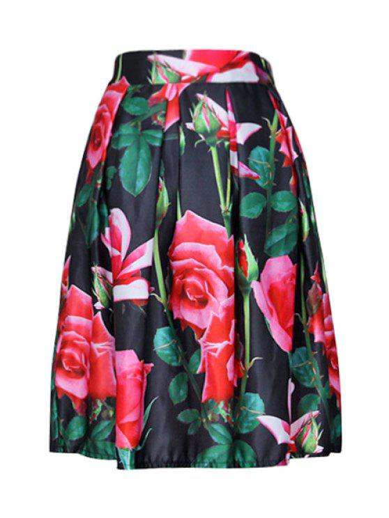 unique Rose Print Zipper-Fly Ruffled A-Line Skirt - BLACK ONE SIZE(FIT SIZE XS TO M)
