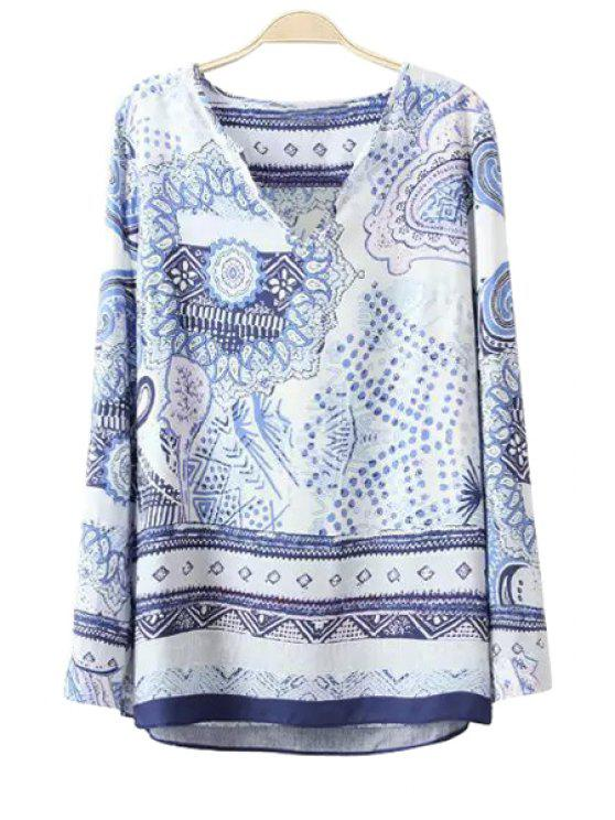 lady Polka Dot Floral Print Long Sleeve T-Shirt - BLUE AND WHITE S