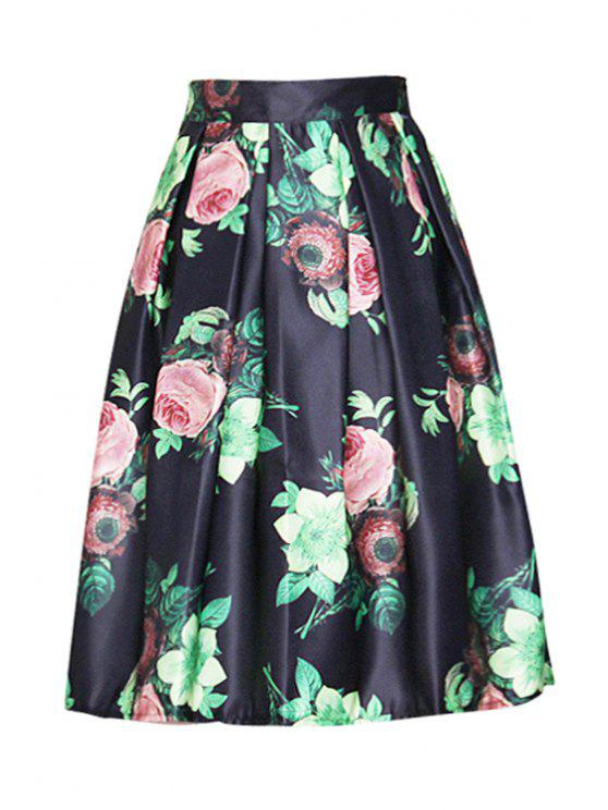 best Floral Print Elastic Waist Ball Gown Skirt - BLACK ONE SIZE(FIT SIZE XS TO M)