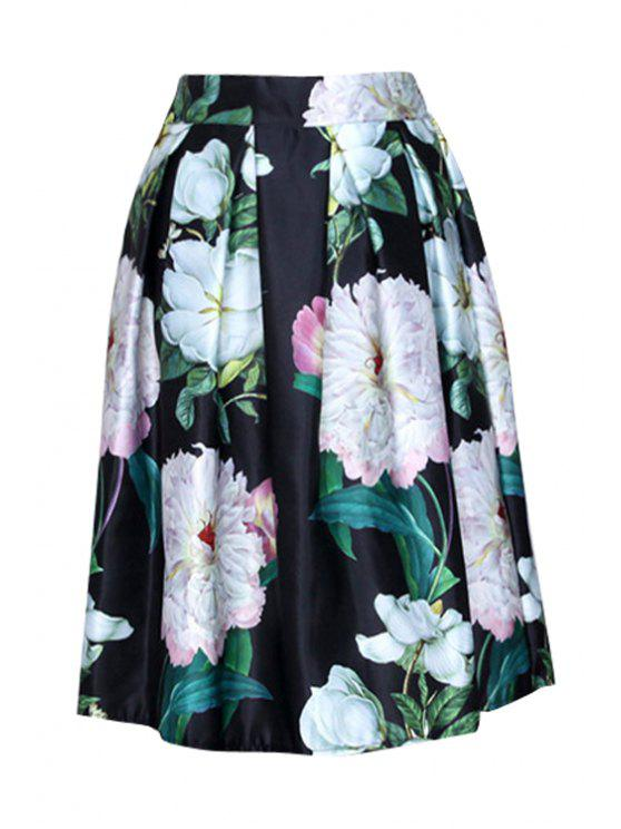 hot High-Waisted Flower Print Ruffled Ball Gown Skirt - BLACK ONE SIZE(FIT SIZE XS TO M)