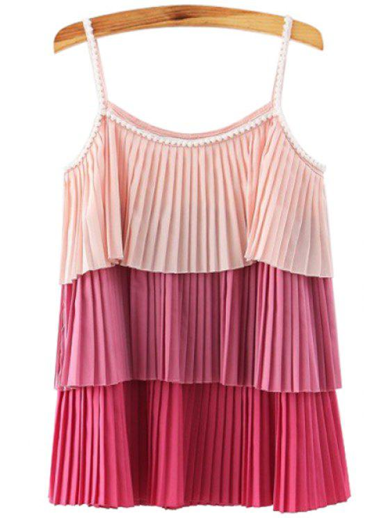 affordable Spaghetti Strap Multi-Layered Ombre Tank Top - RED S