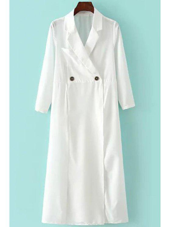 womens Cross Solid Color Pocket Long Sleeve Trench Coat - WHITE S