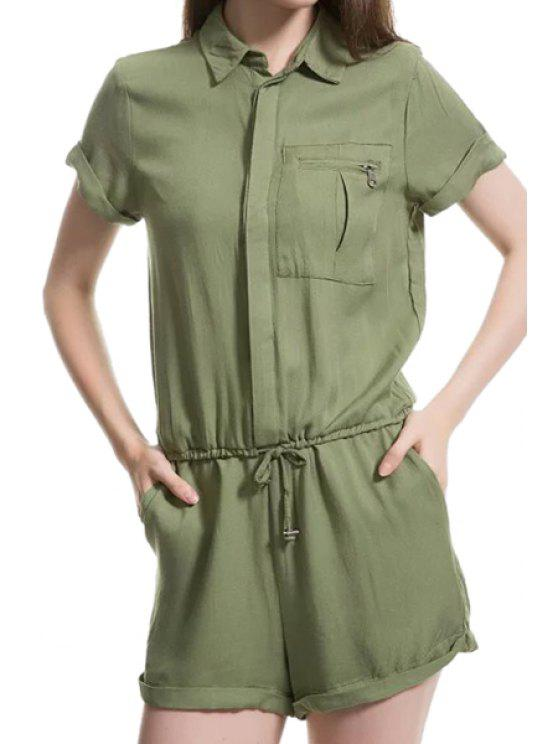 trendy Solid Color Tie-Up Pocket Short Sleeve Romper - GREEN M