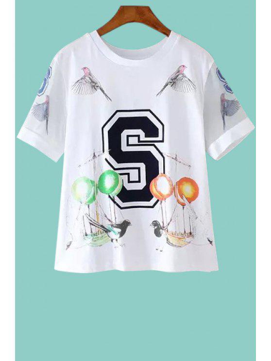womens Short Sleeves Letter Pattern T-Shirt - WHITE S