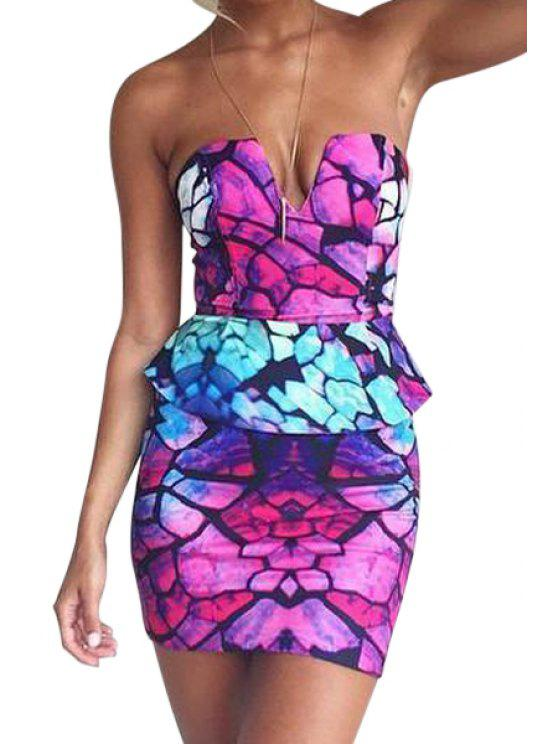 women's Strapless Floral Print Peplum Splicing Dress - VIOLET S