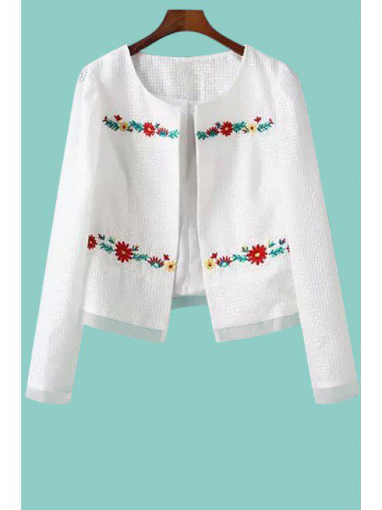 latest Jewel Neck Floral Embroidery Long Sleeve Coat - WHITE S