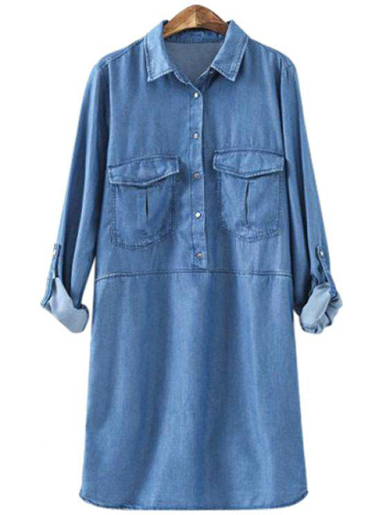 outfits Pocket Bleach Wash Denim Long Sleeve Dress - BLUE XS