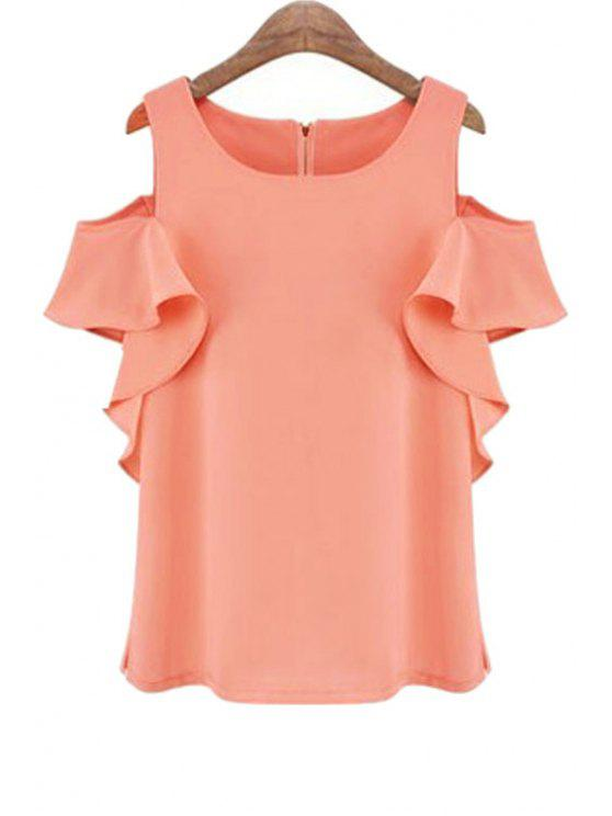 best Off-The-Shoulder Ruffles Spliced Blouse - PINK S
