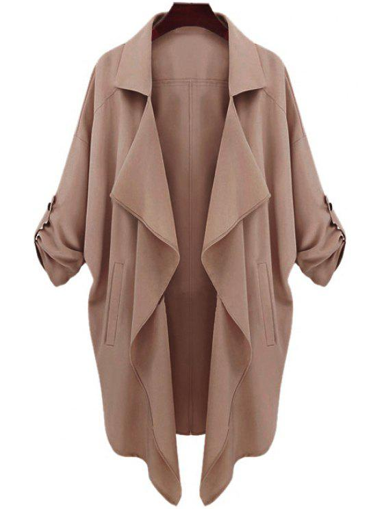 fancy Long Sleeve Solid Color Trench Coat - CAMEL XL