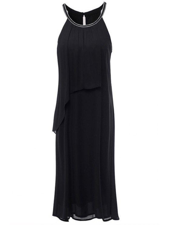 online Round Neck Layered Chiffon Black Midi Dress - BLACK S