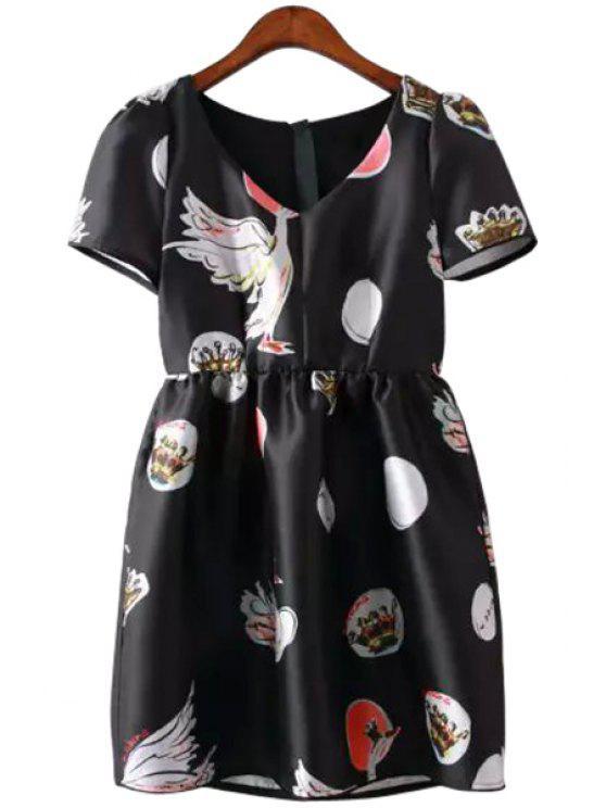 chic Swan Print V-Neck Short Sleeve Dress - BLACK S