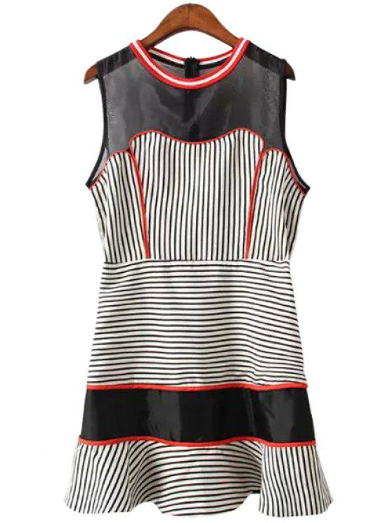 shops Stripes Spliced Round Neck Sundress - BLACK AND WHITE AND RED S