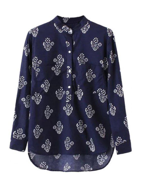 outfit Floral Print High Low Long Sleeve Shirt - CADETBLUE S