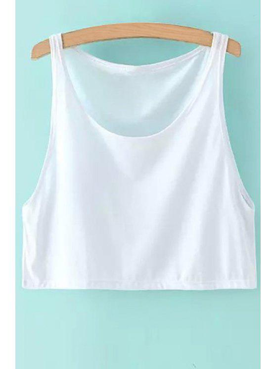 outfits Scoop Neck Solid Color Crop Top - WHITE ONE SIZE(FIT SIZE XS TO M)