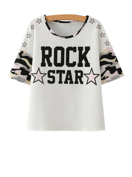 new Stars Pattern Short Sleeves T-Shirt - WHITE S