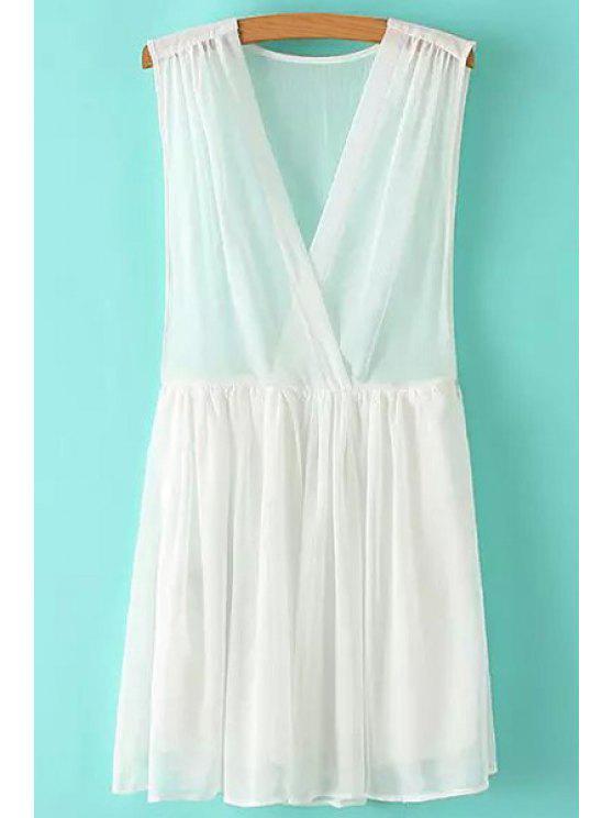 shops V-Neck Solid Color Ruffle Sleeveless Dress - WHITE M
