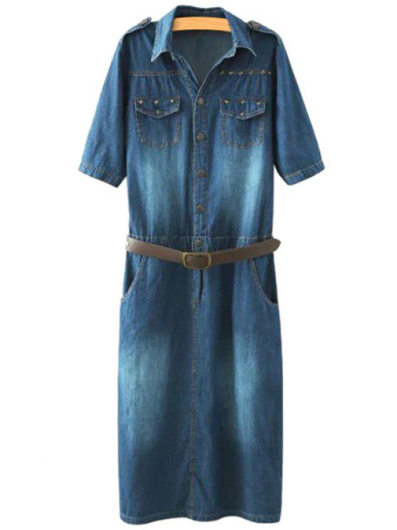 online Denim Turn-Down Collar Short Sleeve Dress - PURPLISH BLUE L