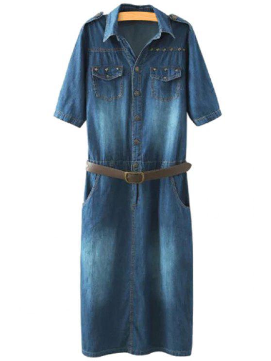outfit Denim Turn-Down Collar Short Sleeve Dress - PURPLISH BLUE XL