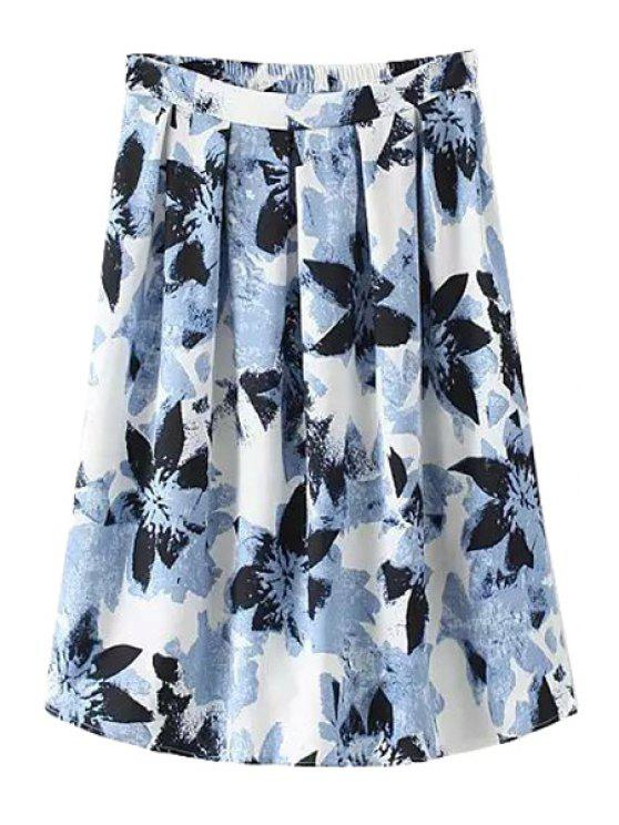 best Floral Print Zipper Fly Midi Skirt - BLUE S