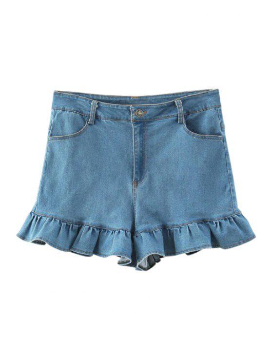 women's Ruffles Spliced Denim Shorts - LIGHT BLUE S