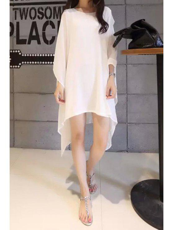 women's Solid Color Asymmetrical 3/4 Sleeve Dress - WHITE M