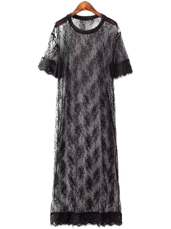trendy Lace See-Through Short Sleeve Maxi Dress - BLACK ONE SIZE(FIT SIZE XS TO M)
