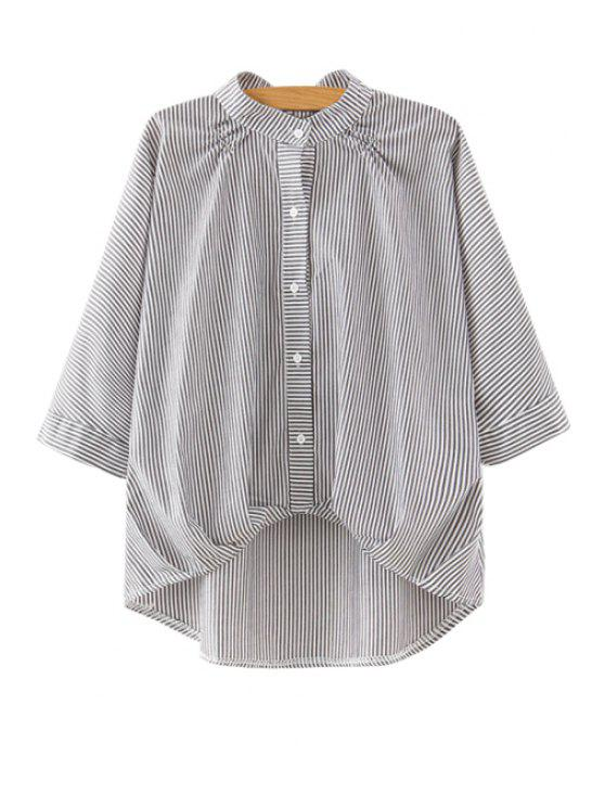 women's Stripe Stand Neck 3/4 Sleeve Blouse - AS THE PICTURE S