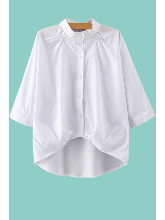 shop White Stand Neck 3/4 Sleeve Blouse - WHITE S