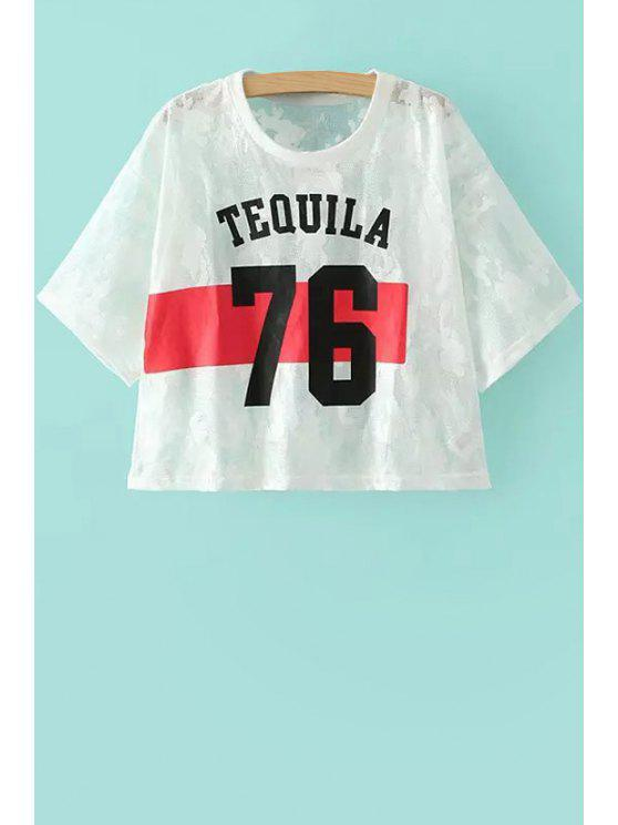 affordable Lace Number Print Short Sleeve T-Shirt - WHITE S
