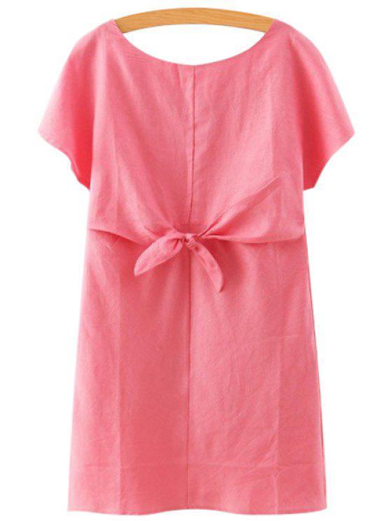 shop Solid Color Linen Short Sleeve Dress - RED S