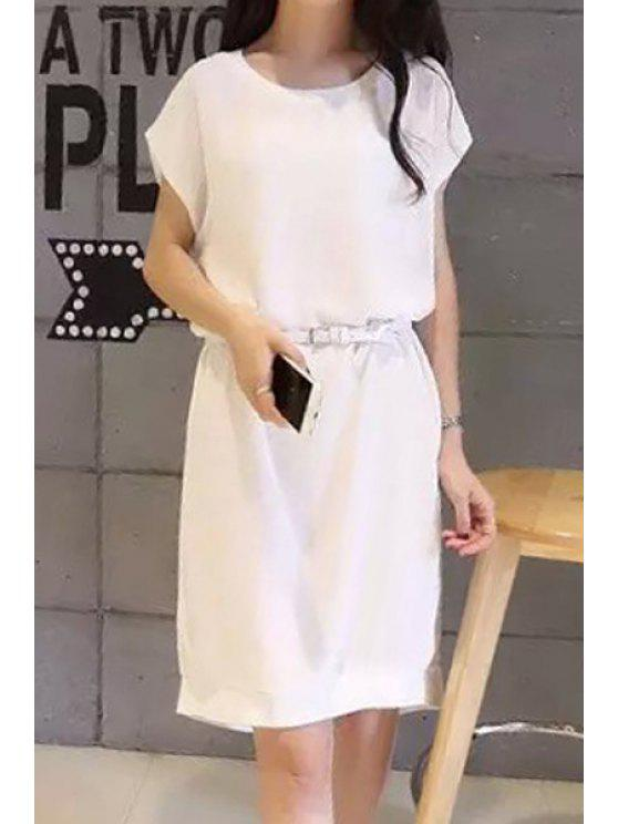 outfits Solid Color Asymmetrical Short Sleeve Dress - WHITE M