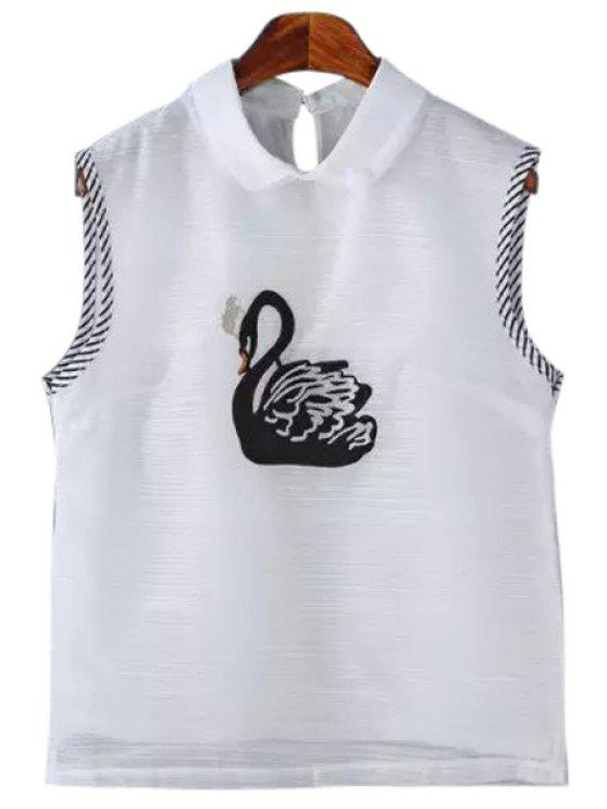 online Swan Embroidery Sleeveless Shirt - WHITE L