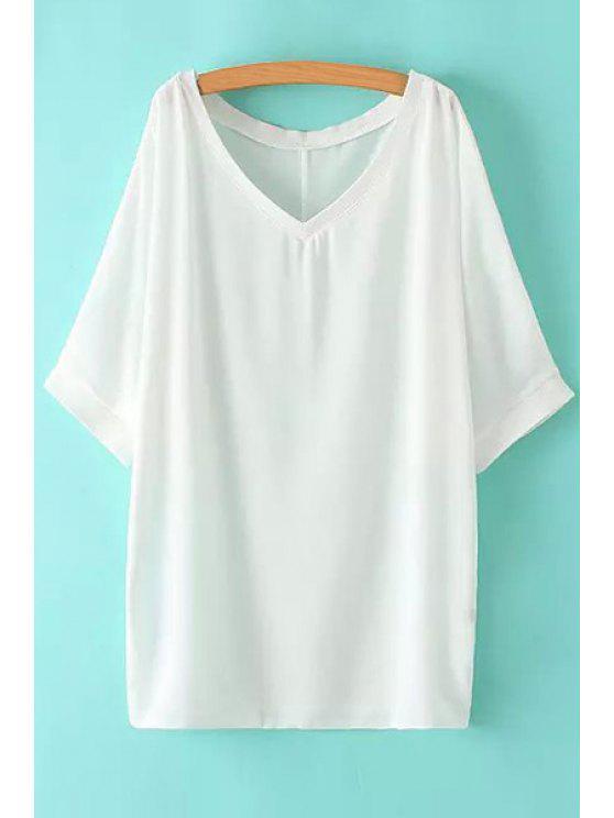 sale V-Neck Solid Color Half Sleeve Dress - WHITE M