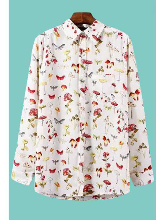 women's Insect Floral Print Long Sleeve Shirt - WHITE S