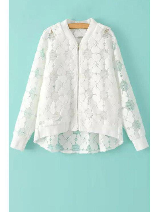 chic Floral Pattern See-Through Long Sleeve Coat - WHITE S